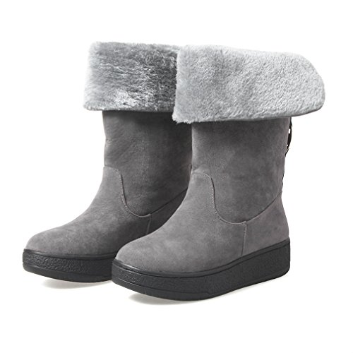 calf Snow Heel Ankle Winter Boots Low MFairy Warm Boots Woman's Mid Grey qRUXXIx