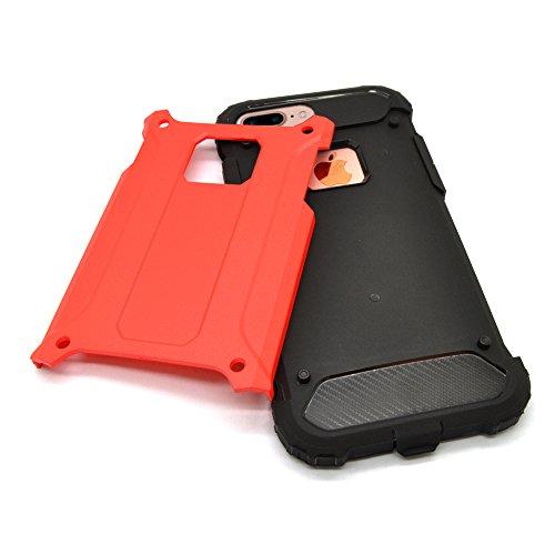 iProtect Apple iPhone 7 Plus, iPhone 8 Plus Hülle Dual Layer Hard Case stoßfeste Schutzhülle in schwarz und rot