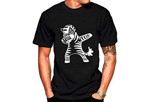 Luoyi Summer Men Fashion Brand Zebra Print Casual T-Shirt Couple Shirt Short Sleeve Top Black by Luoyi