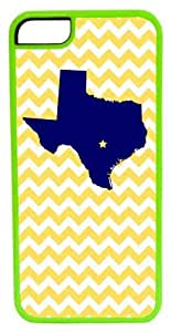 iPhone 5c Case, CellPowerCasesTM State of Texas Yellow Chevron ChromaLuxe Green Case for iPhone 5c [5c V2 Green Case]