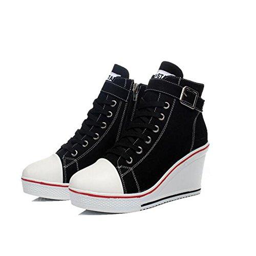 43 Size Zapatos Top Large Para Negro rojo Canvas blanco rosa Negro otoño Sneakers Mujer color Primavera Ladies Casual 35 De Tamaño Botines Comfort 35 High UUPRqC