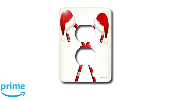 3dRose lsp/_6504/_6 Candy Canes and Santa Hats 2 Plug Outlet Cover Multicolor