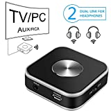 Bluetooth Audio Transmitter with 3.5mm AUX/RCA/USB Input for TV Computer Laptop, Wireless Audio Adapter Support Dual Link for Two Headphones