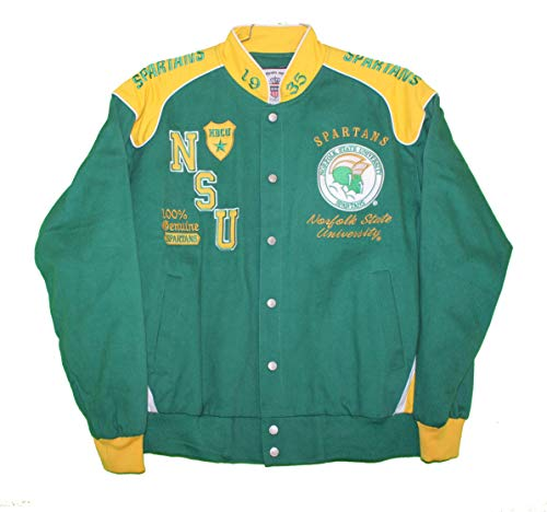 Norfolk State Spartans Green - Norfolk State Spartans - Embroidered Team Initials on Green and Yellow Two Tone Racing Snap Jacket, 3XL