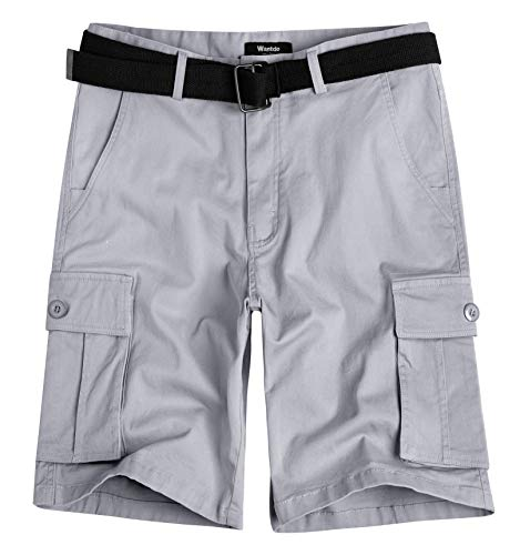 Wantdo Men's Belted Relaxed Cotton Cargo Shorts 38 Light Grey