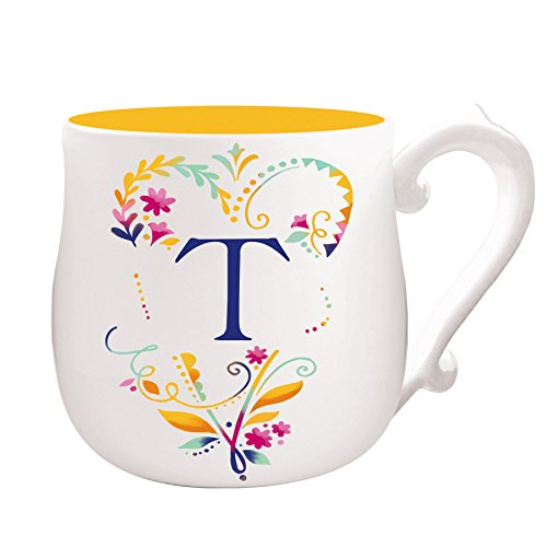 Cypress Home Spring Floral Monogram Hand-Crafted Ceramic Mug, 12 ounces, in Letter T