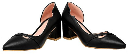 Toe Pointed Shoes Pull Black Pumps PU Heels Solid WeiPoot Kitten Women's On FaqAU