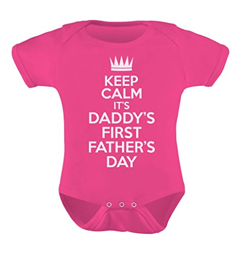 Fathers Day Gift - Keep Calm It's Daddy's First Father's Day Baby Bodysuit 6-12 Months Wow pink (Baby Shower Souvenirs Ideas)