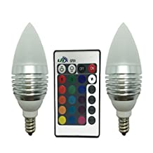 LJY 2-Pack E12 Candelabra 3W RGB LED Light Remote Control Color Changing Candle Lamp Bulbs AC 110V