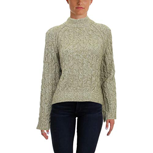 Free People Womens Snowbird Cable Knit Turtleneck Sweater Green L ()