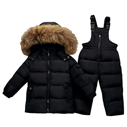 Kids 2-Piece Snowsuit Winter Puffer Jacket and Bib Snowpants Ultralight Skisuit Set Black 18-24 Months