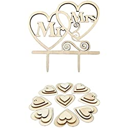 Kalevel 51pcs Wooden Heart Wedding Cake Topper Mr and Mrs Wood Heart Table Scatter Decor Cupcake Picks Toppers for Bridal Shower