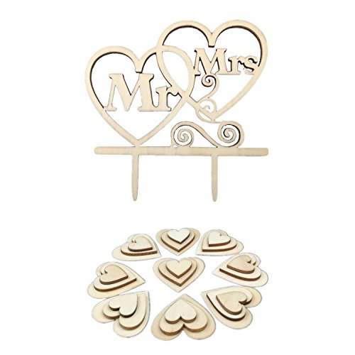 Kalevel 51pcs Wooden Heart Wedding Cake Topper Mr and Mrs Wood Heart Table Scatter Decor Cupcake Picks Toppers for Bridal Shower ()