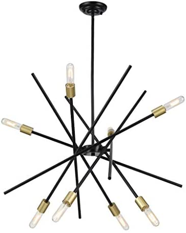 Sputnik Cedillo 8-Light Arm Adjustable Customize Size Chandelier Wrought Matte Black Antique Bronze Dining Room Settings or Entryway