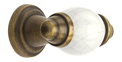 myoh KNB.340.35.18 Orde Knob, 35mm Diameter, Ivory Crackle Porcelain With Aged Brass
