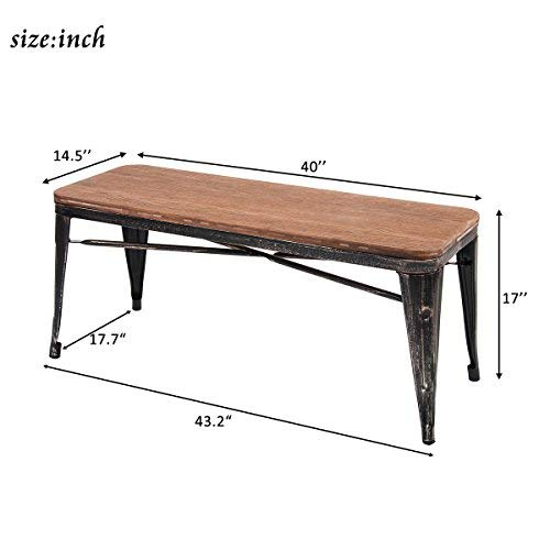 Amazoncom Merax Stylish Distressed Dining Table Bench With Wood