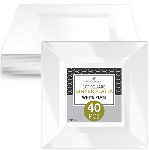 Elite Selection Pack Of 40 White Salad Dessert Square Disposable Plastic Party Plates (10 Inch)