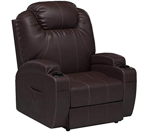 MAGIC UNION Power Lift Massage Recliner Heated Vibrating Chair with 2 Controls Wheels - Brown
