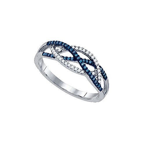 Blue Diamond Crossover - 10kt White Gold Womens Round Blue Colored Diamond Crossover Band Ring 1/5 Cttw