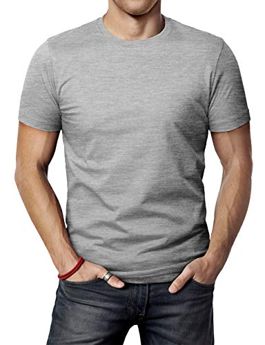 - H2H Mens Simple Daily Favorite Cotton Blend Crew Neck T-Shirt Gray US S/Asia M (CMTTS0198)