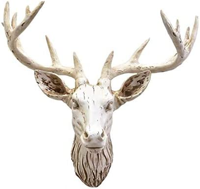 YJ Home Deer Head Wall Mounted Decor – Faux Stag Animal Head Wall Hanging Large, Retro White