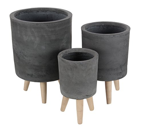 Black Cylindrical Fiber Clay Planters, Set Of 2