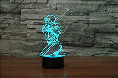 3D Baseball Player Night Light 7 Color Change LED Table Desk Lamp Acrylic Flat ABS Base USB Charger Home Decoration Toy Brithday Xmas Kid Children ()