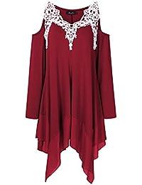 Women Crochet Lace Asymmetrical Cold Shoulder Plus Size...
