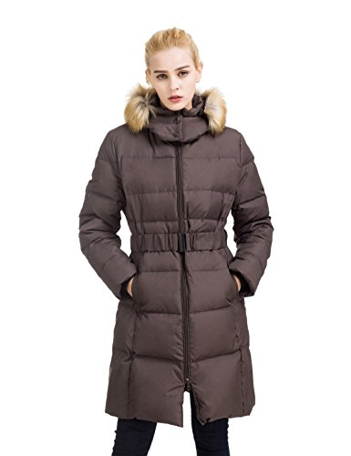 ADOMI Women's Belted Long Down Jacket with Faux-Fur-Trimmed Hood