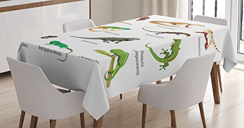 Ambesonne Reptile Decor Tablecloth, Lizard Family Design on Plain Background Primitive Reptiles Camouflage Exotic Creatures Home, Dining Room Kitchen Rectangular Table Cover, 60 X 84 inches