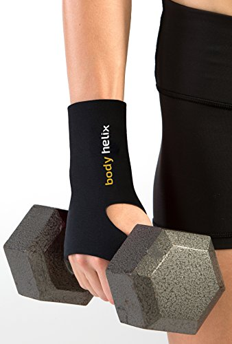 body helix Wrist Wraps - Full Wrist Compression Sleeve - for The Management of Wrist Sprains and Strains and for Injury Prevention in Sports Associated with Repetitive Activities; Black, -