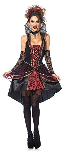 Costume Ladies Vampire (Leg Avenue Women's 3 Piece Vampire Queen Costume, Black/Burgundy,)