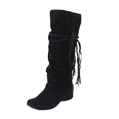 hunpta Tassel Boots, Women Heighten Platforms Thigh High Tessals Boots Motorcycle Shoes Black