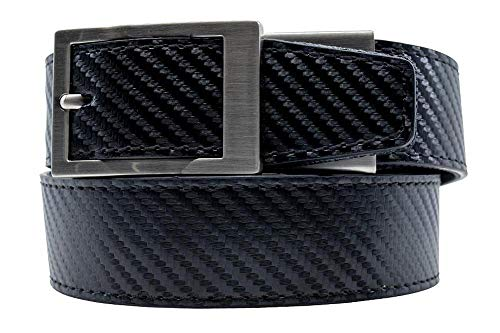 Nexbelt Ratchet System Technology - Defender Carbon Black Leather EDC Gun Belt for Men with High Strength Zipper ()