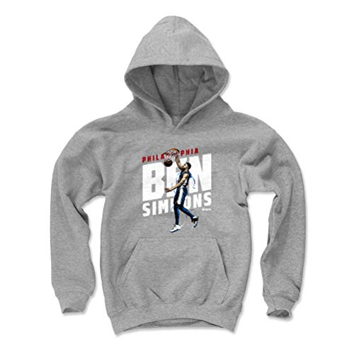 500 LEVEL Ben Simmons Philadelphia 76ers Youth Sweatshirt (Kids Small, Gray) - Ben Simmons Slant W WHT