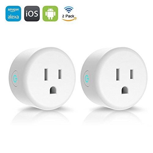 Smart Plug, Lintelek Mini Wifi Wireless Smart Socket Outlet, Compatible with Alexa, No Hub Required, Remote Control Your Devices from Anywhere, 2 Pack