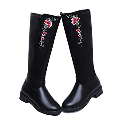AMA(TM) Women Ladies Knee High Boots High Tube Martin Boot Flat Heels Flowers Shoes