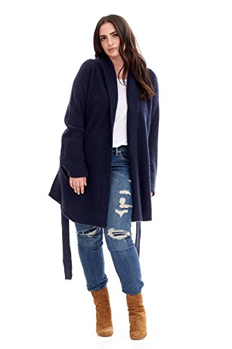 Cashmere Tie Front Cardigan (NAKEDCASHMERE Women's Queen Cardigan Wrap 3X Navy)