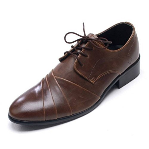 EpicStep Mens Stylish Leather Shoes Dress Formal Business Casual Lace Up Oxfords Loafers Brown psp3tj2TYA