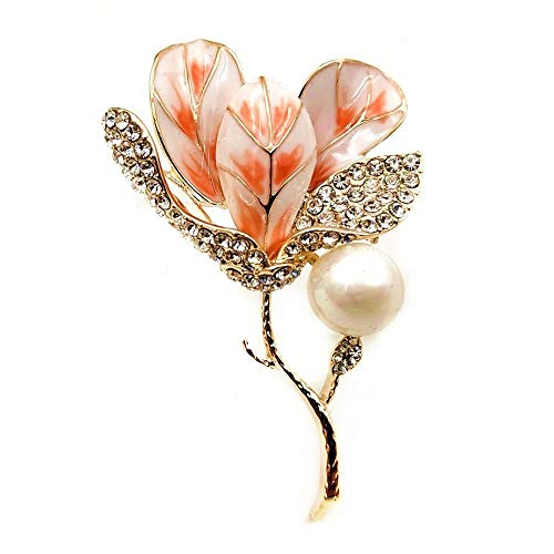 DREAMLANDSALES Stunning Vintage Golden Twig Branch Enamel Pink Kapok Bud Brooch Orchid Flower Pins