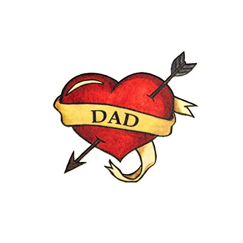 (Dad Heart Temporary Tattoos (3-Pack) | Skin Safe | MADE IN THE USA| Removable)