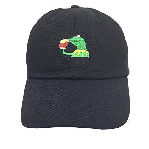 Kermit The Frog Dad Hat Cap Sipping Sips Drinking Tea Champion Lebron Costume (Black)