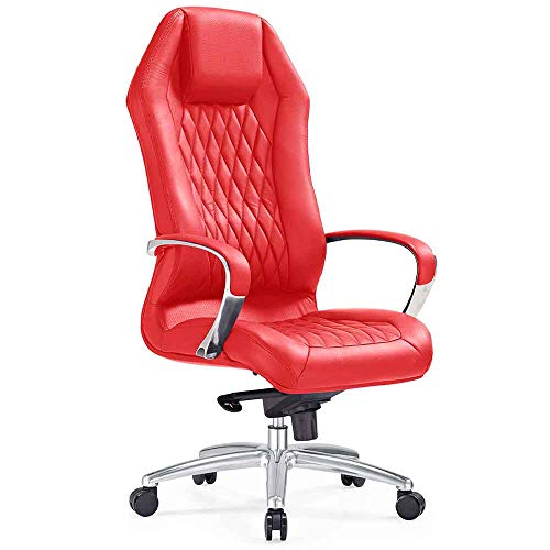 (Modern Ergonomic Sterling Leather Executive Chair with Aluminum Base- Red)