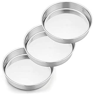 9½ Inch Cake Pan Set, P&P CHEF 3 Pcs Round Baking Cake Pans Stainless Steel for Birthday Wedding, Healthy & Durable, One-piece Molding & Leakproof, Mirror Finish & Dishwasher Safe