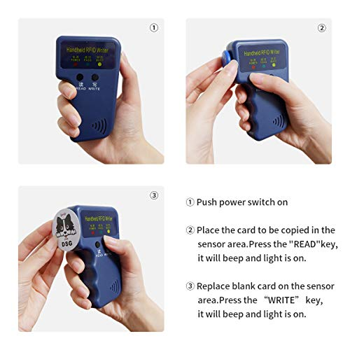 125Khz RFID Reader Writer - ID Card Compatible With Proximity Key Card  Reader Duplicator Copier EM4100 Card Reader Writer Including 3M Sticker  2Pcs,