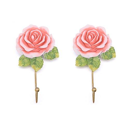 Hook Rose - Tinksky 2pcs Lovely Rose Decor Wall Mounted Towel Hanger Holder Organizer (Pink)