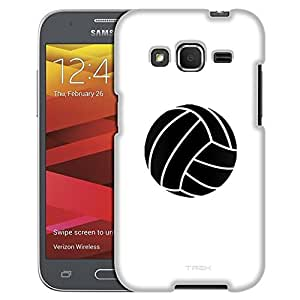 Samsung Galaxy Core Prime Case, Slim Fit Snap On Cover by Trek Silhouette Volleyball on White Case