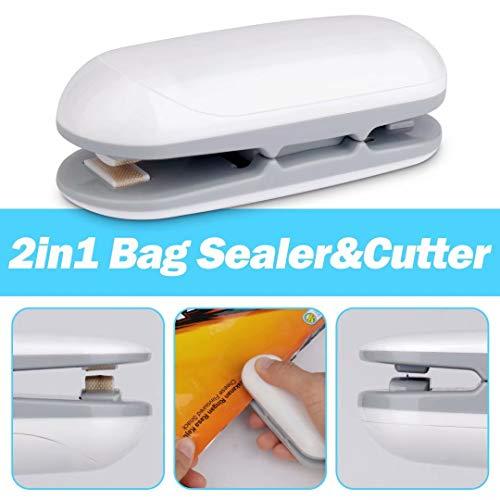 Mini Bag Sealer, vacuum sealer bags,2 in 1 Heat Sealer and Cutter Handheld Portable Bag Reseller Sealer for Plastic Bags Food Storage Snack Fresh Bag Sealer (Battery Not Included)