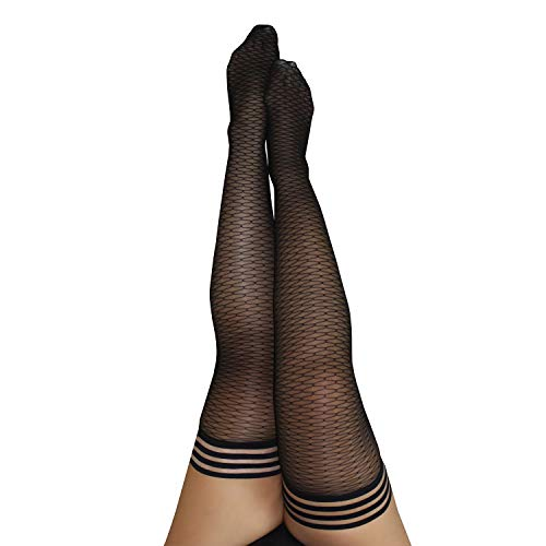 Kix`ies Thigh Highs Stockings Hold Up Nylon Pantyhose - A Delicious Modern Take on the Traditional Fishnet - Beth Ann (Size C) -