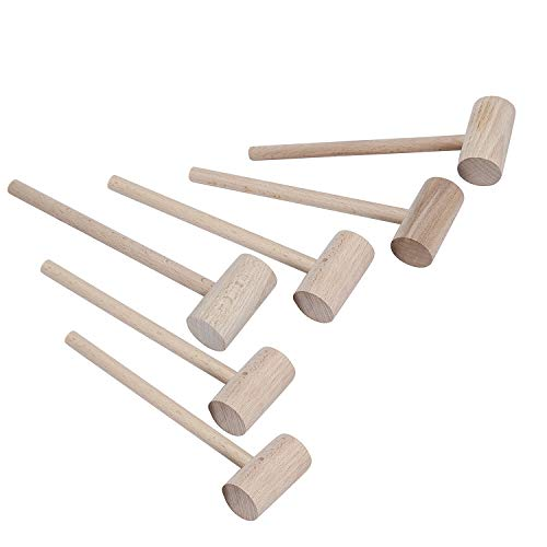 6PCS Solid Natural Wooden Crab Lobster Mallets Shellfish Hammers, Beechwood